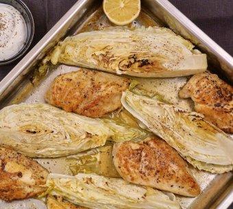 Kyckling i ugn med citron och spetskål