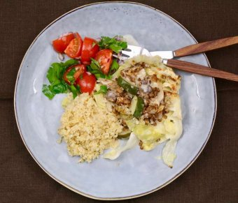Gratinerad spetskål med ostronskivling