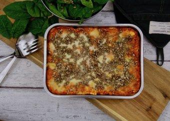 Rotfruktslasagne med mozzarella