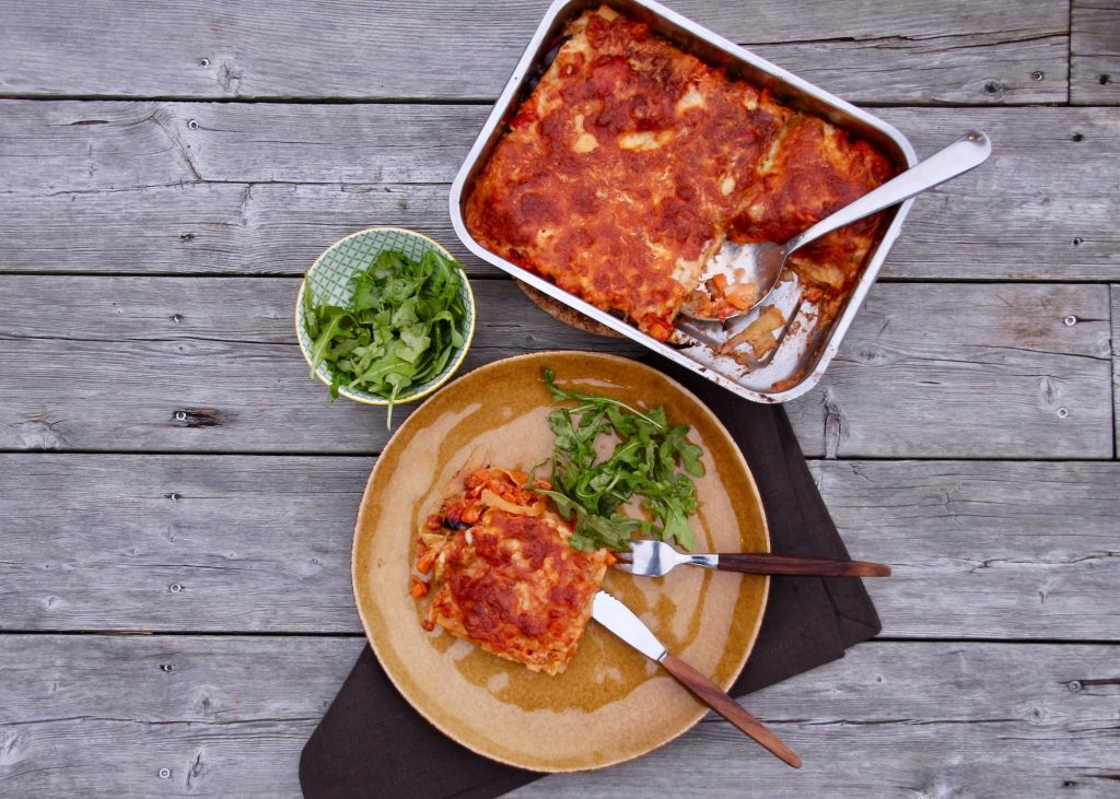 Vegetarisk lasagne från en matkasse - HelloFresh.